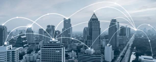 Bangkok ciudad con concepto de red de conexión,Futuristic technology.internet of things.fin tech.smart city.banner fondo con espacio de copia - foto de stock