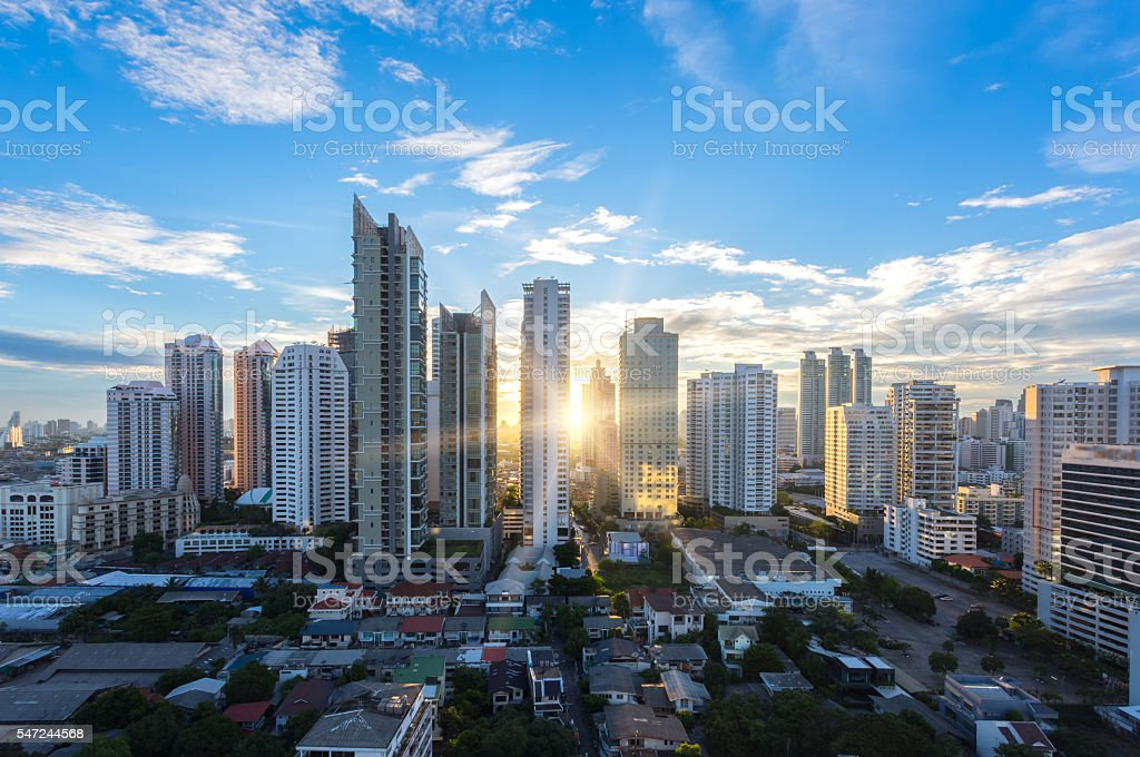 Bangkok cityscape , Aerial view of Bangkok modern stock photo