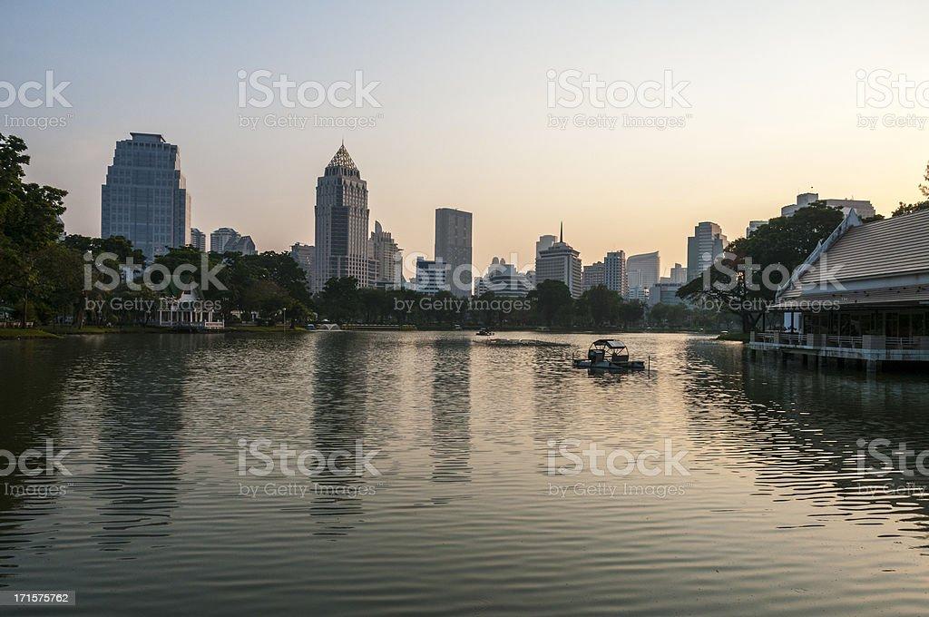 Bangkok Cityscape And Sunset stock photo