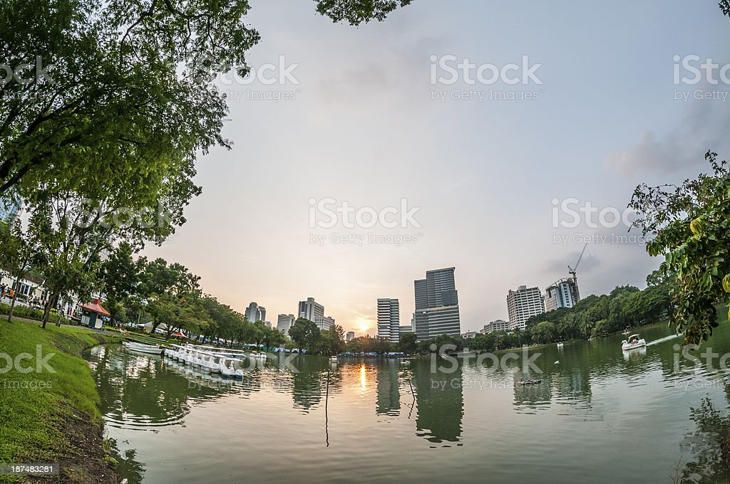 Bangkok Cityscape And Sunset royalty-free stock photo