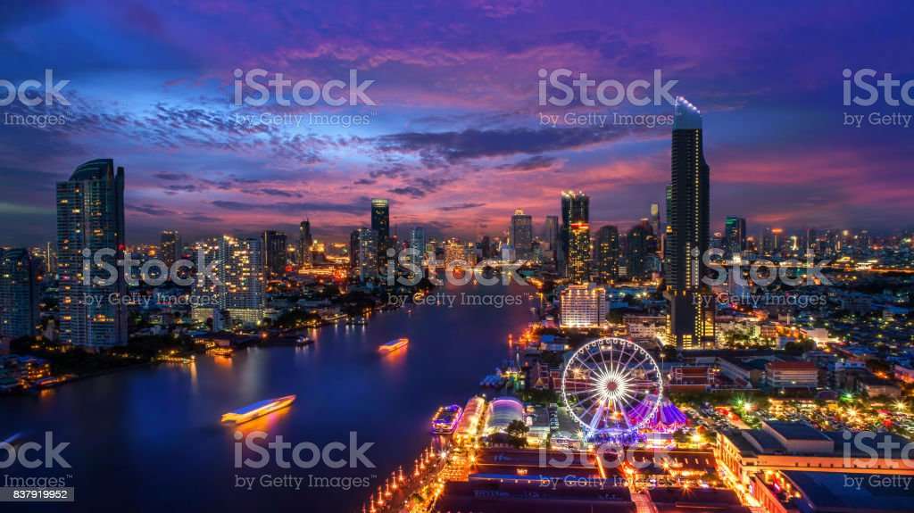 Bangkok cityscape. Bangkok night view in the business district. at twilight stock photo