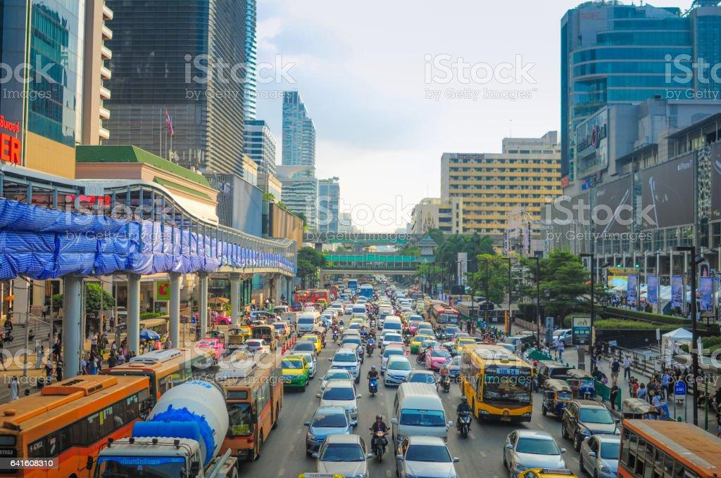 Bangkok Cityscape, Business district with high building at dusk (Bangkok, Thailand) stock photo