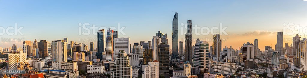 Bangkok cityscape in sunset time, Thailand stock photo