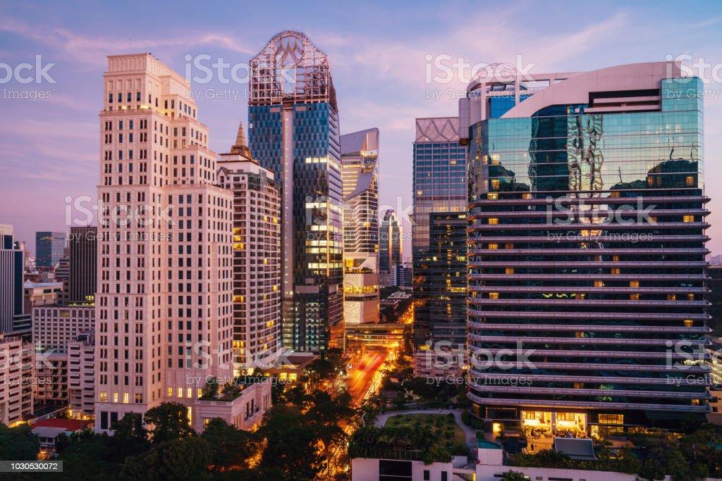Bangkok Cityscape Modern Skyscrapers at Sunset Thailand stock photo