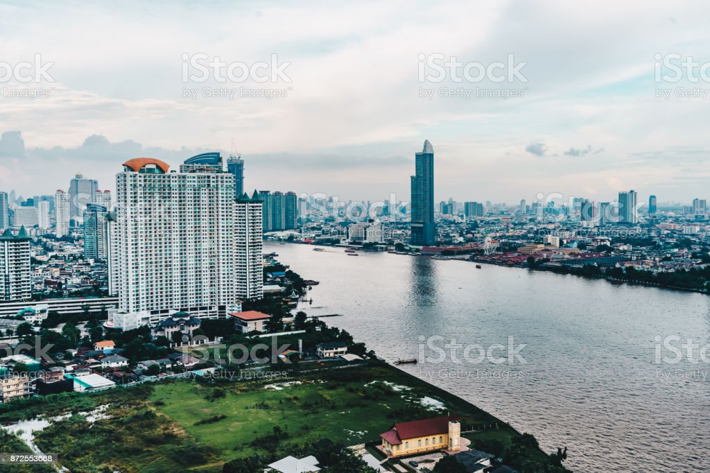Bangkok cityscape skyline as seen from above aerial view photography in Bangkok, Thailand stock photo