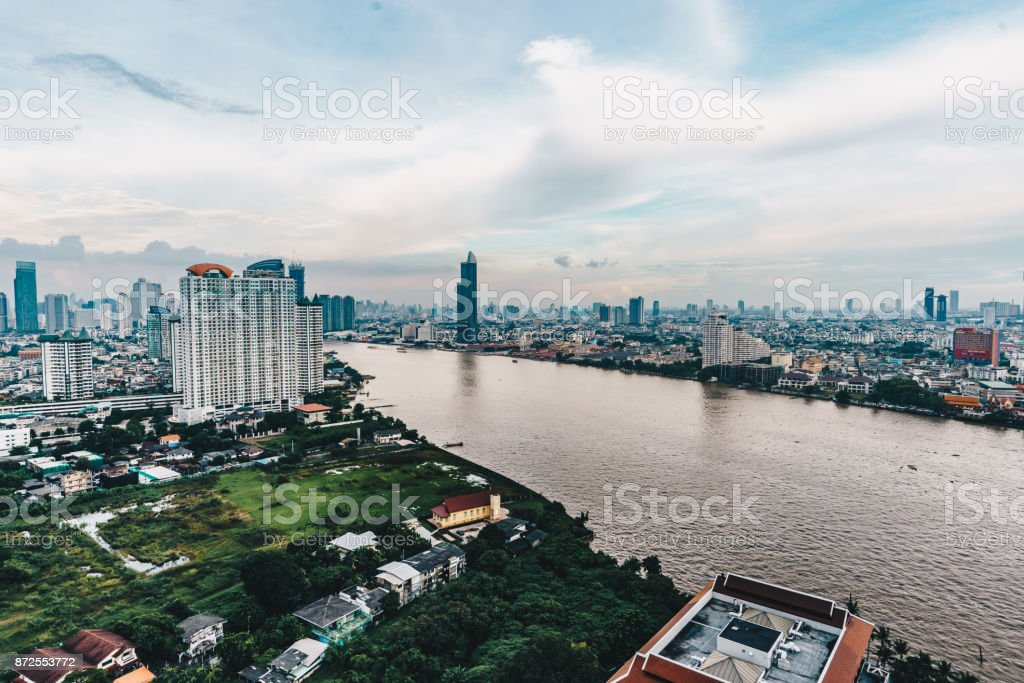 Bangkok cityscape skyline panorama as seen from above aerial view photography in Bangkok, Thailand stock photo