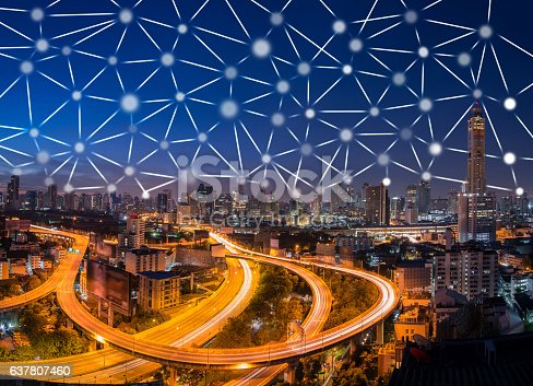 656082444 istock photo Bangkok cityscape with connetion line,network connection and tec 637807460