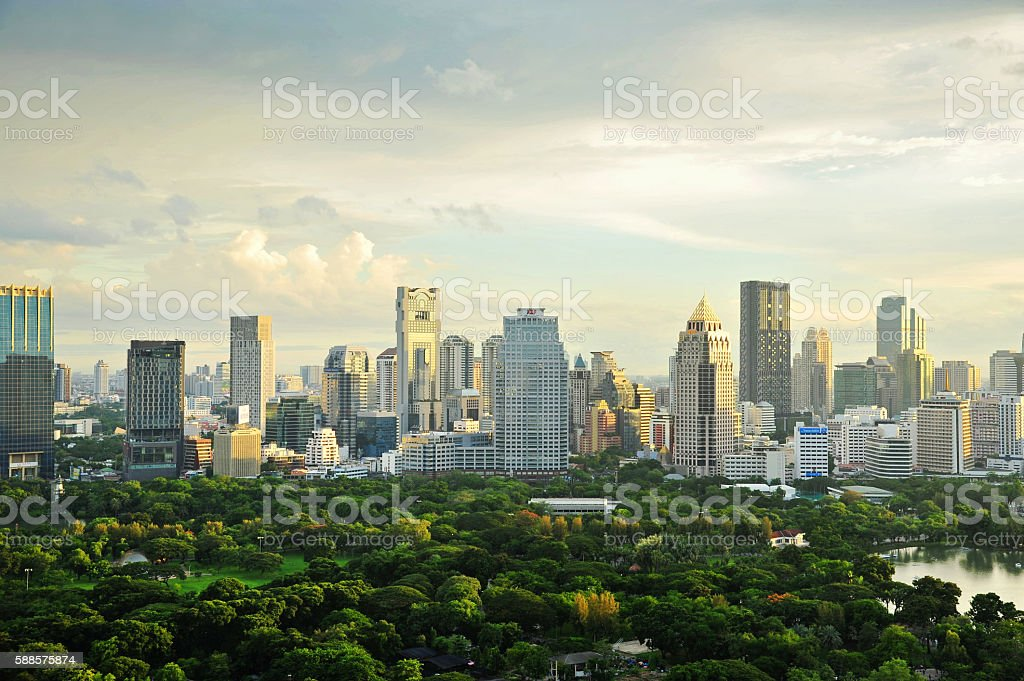Bangkok Cityscape with main garden stock photo