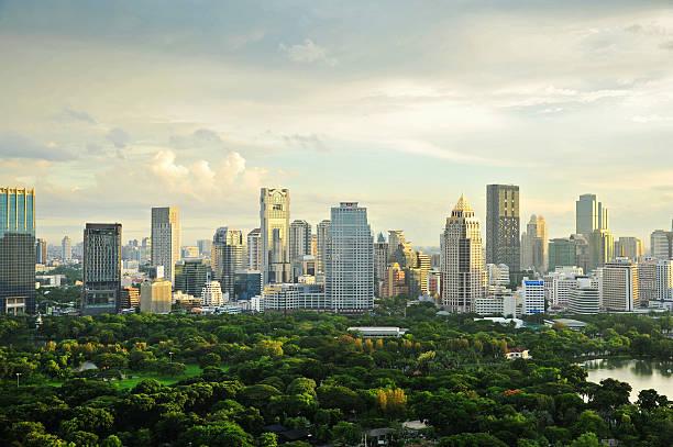 bangkok cityscape with main garden - 緑 ビル ストックフォトと画像