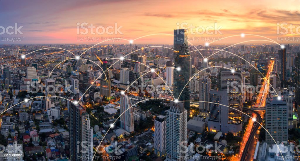 Bangkok cityscape with network connection concept stock photo