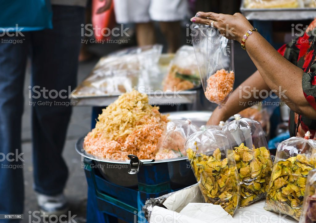 bangkok: dried fruits sold on street market stock photo