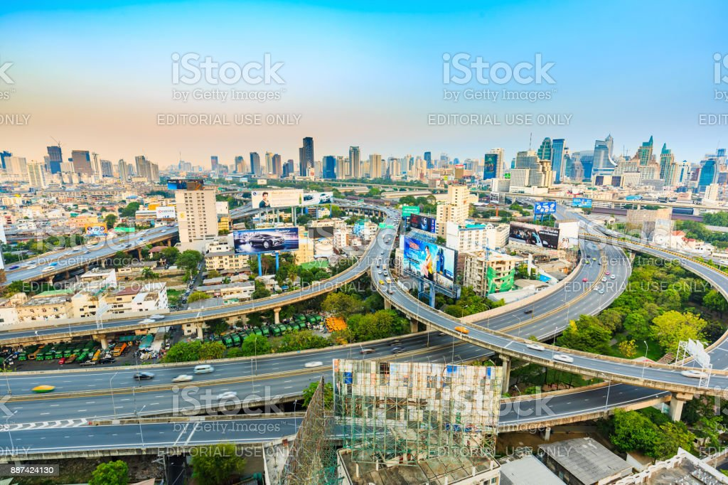 Bangkok expressway in the evening stock photo