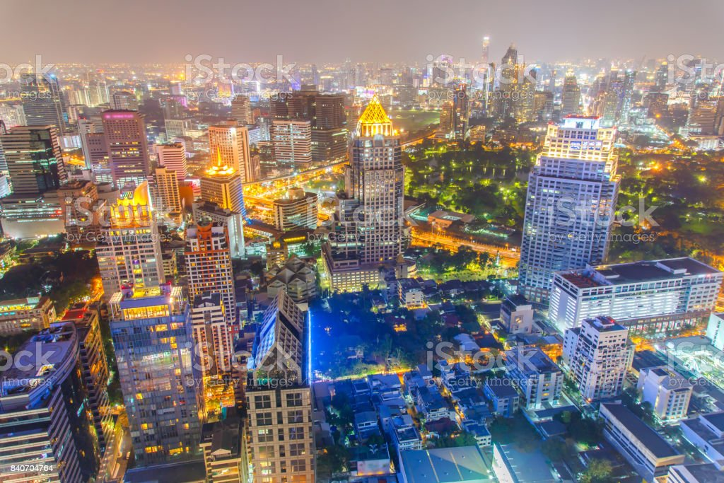 Bangkok financial district, business building and shopping mall center at Southeast Asia stock photo