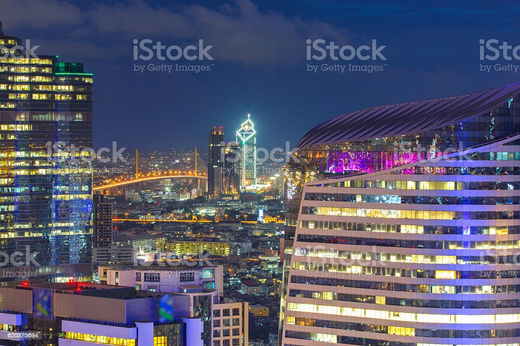 Bangkok financial district, business building zbiór zdjęć royalty-free
