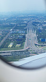 Bangkok highway seen from landing Airbus A380