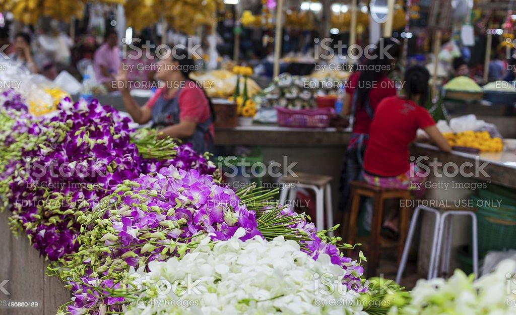 Bangkok market with orchids stock photo