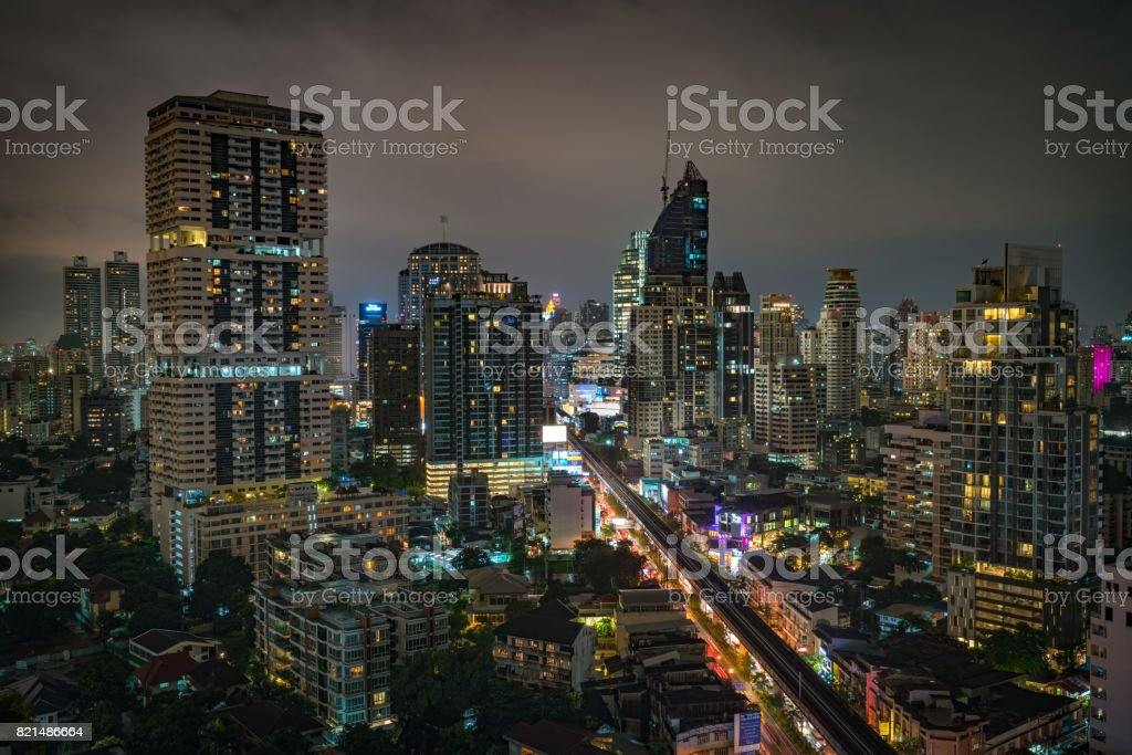 Bangkok metropolis in the middle of business district stock photo