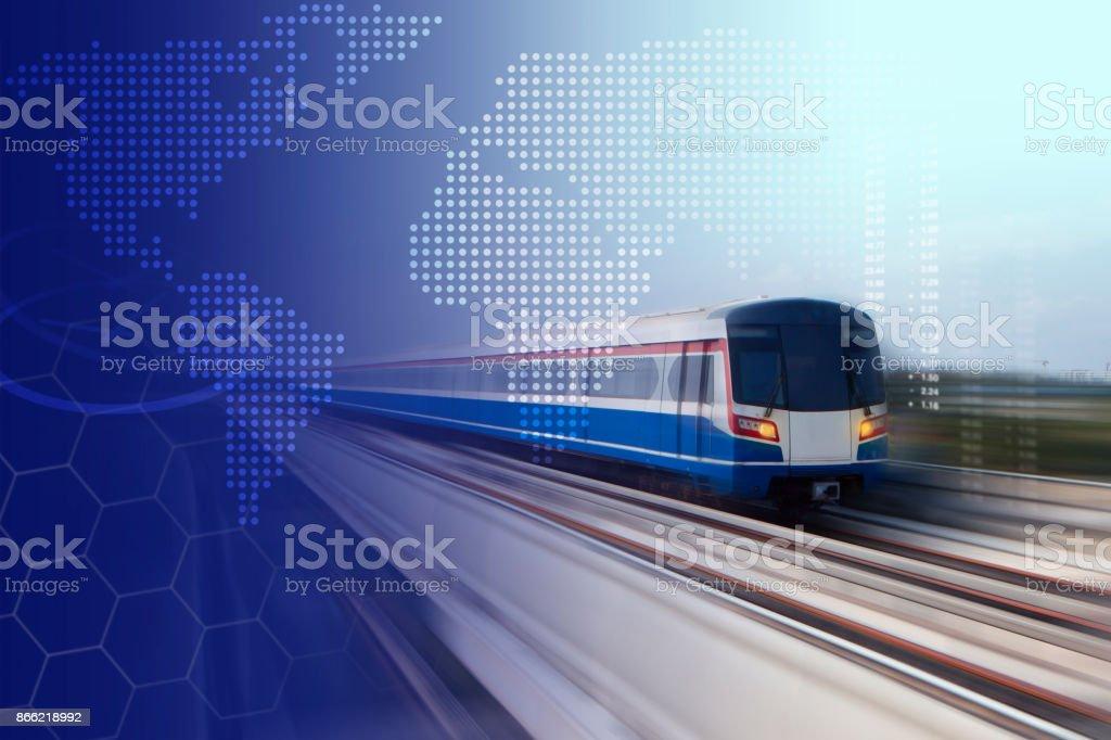 Bangkok modern train in motion blur stock photo
