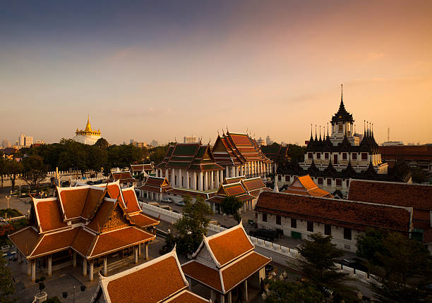 Bangkok Monuments at Sunset stock photo