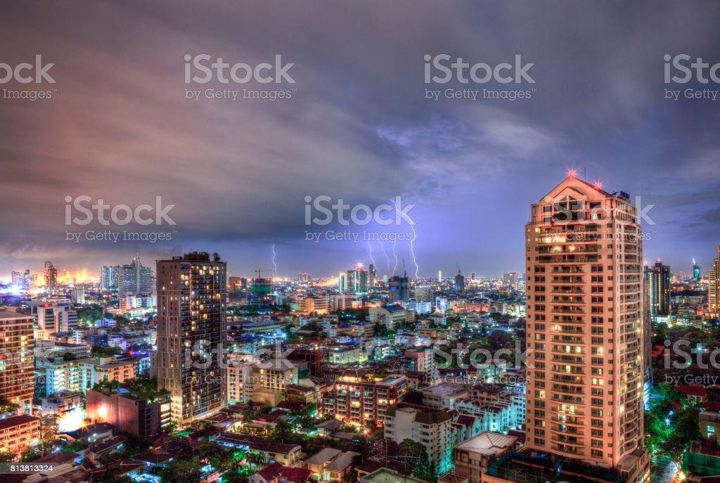 Bangkok Nightime Dramatic Cityscape Electric Thunderstorm stock photo