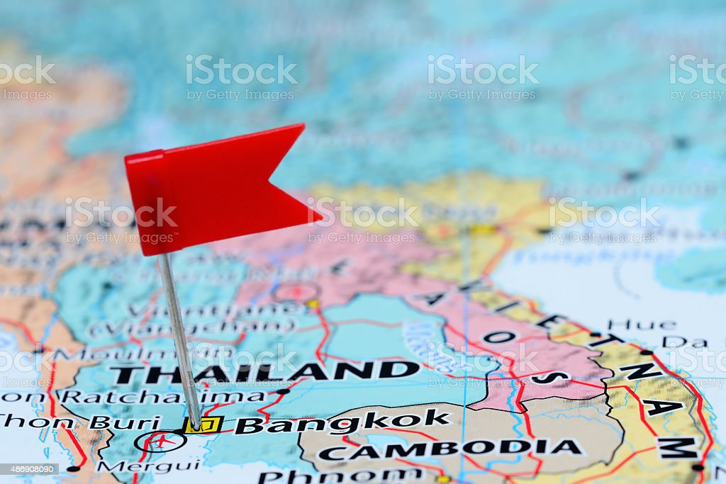 Bangkok pinned on a map of Asia stock photo
