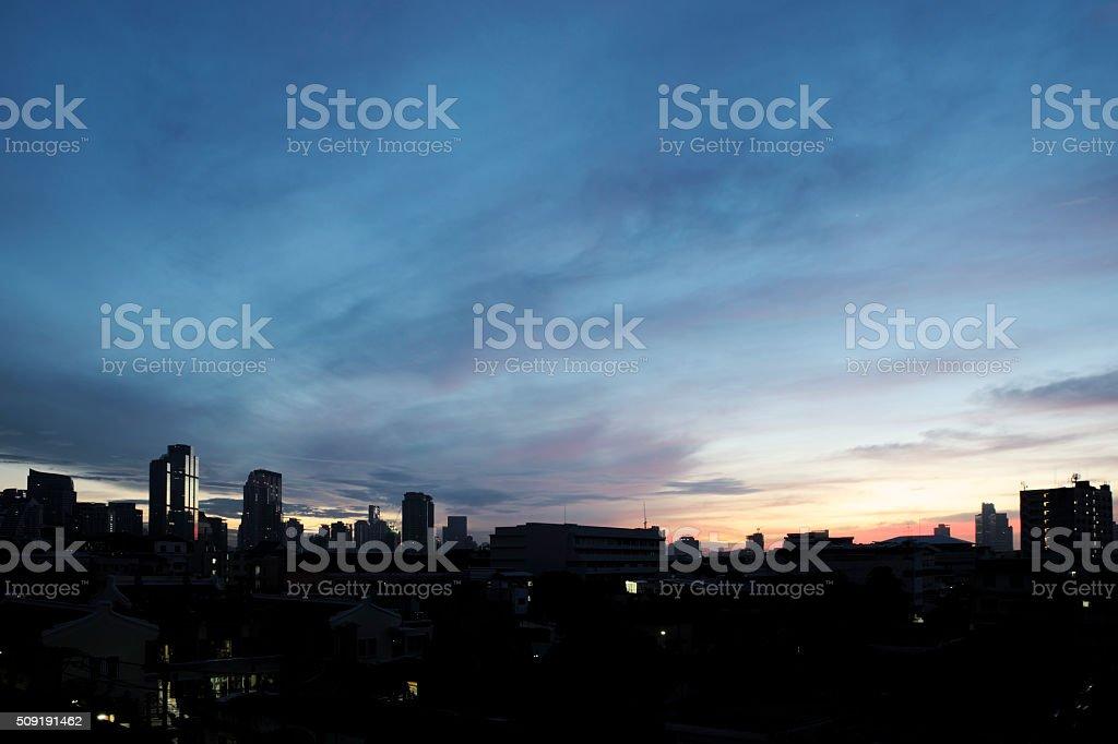 Bangkok silhouette in dawn sky stock photo