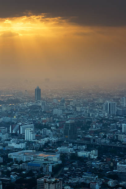 Bangkok Skyline at Sunset 2 stock photo
