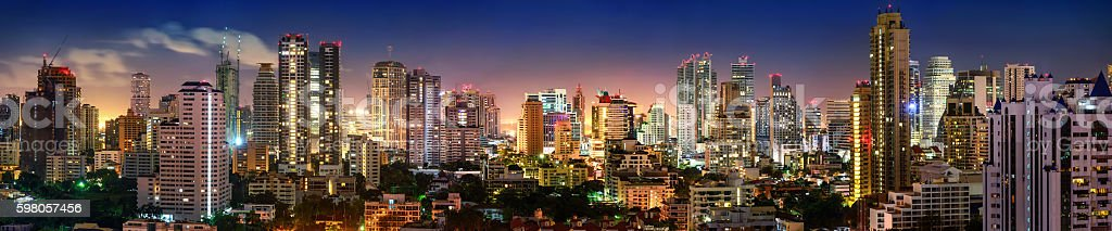 Bangkok Skyline night panorama stock photo