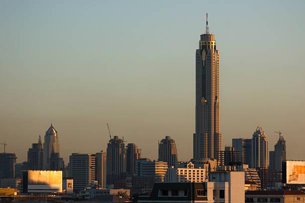 Bangkok Skyline with Bayoke Tower stock photo