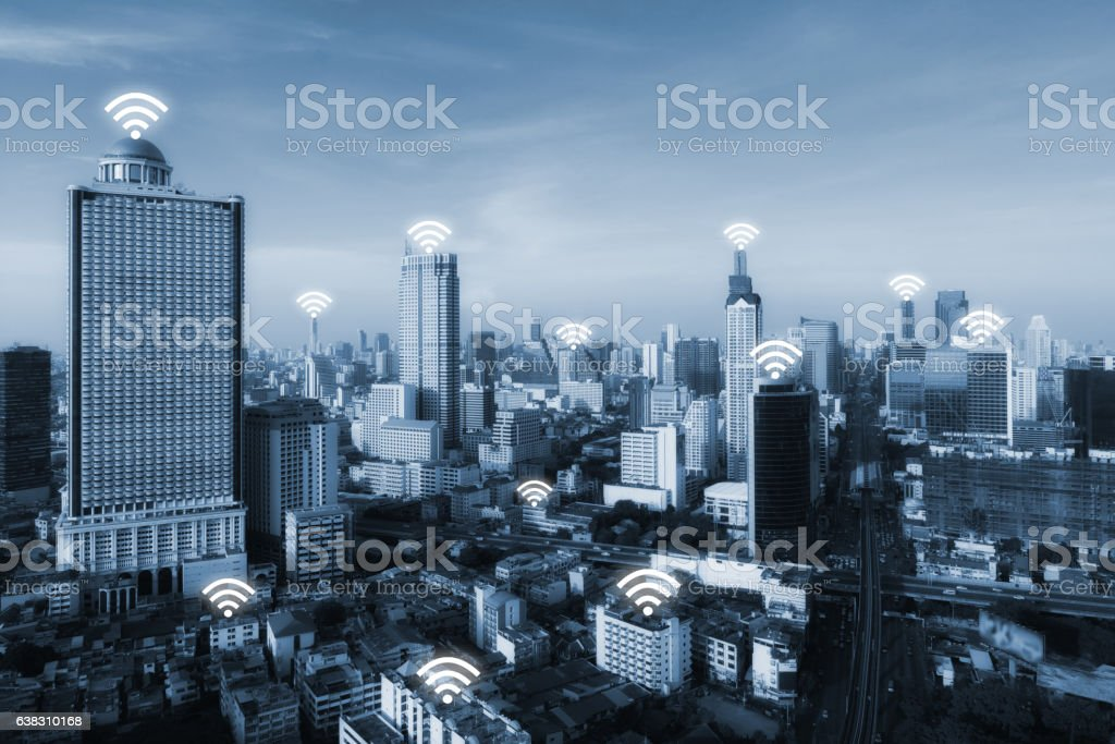 Bangkok smart city and wireless communication network, internet of things. stock photo