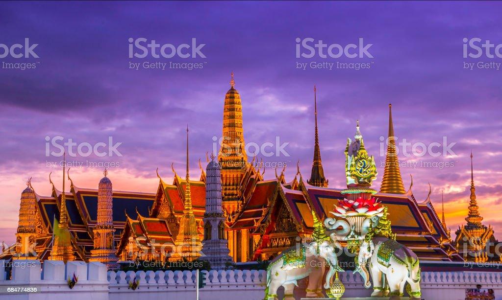 Bangkok Temples and Palace at Sunset stock photo