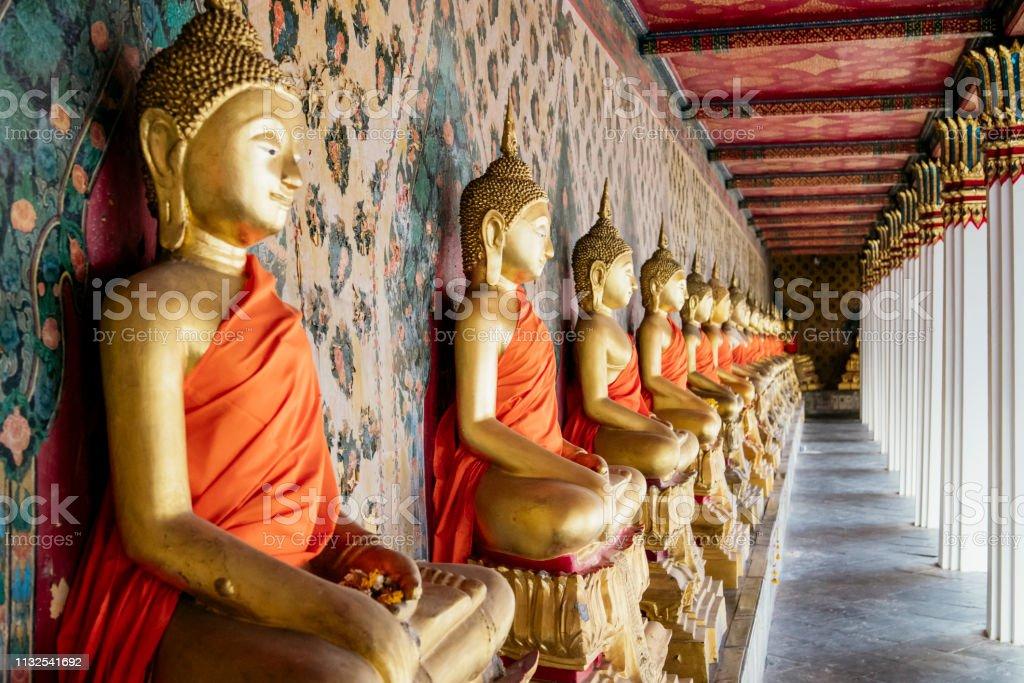 Bangkok Thai temple Wat Arun with Buddha stock photo