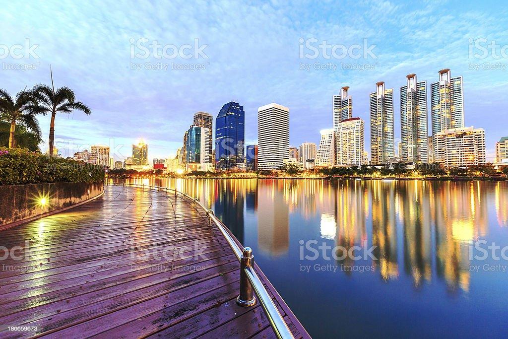bangkok thailand night city stock photo