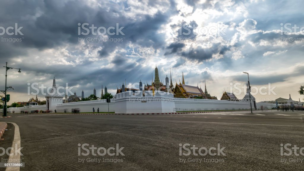 Bangkok, Thailand, Nov. 29, 2017 : Unidentified tourists at Wat Phra Kaew - the Temple of Emerald Buddha is one of the most popular tourists destination in Thailand.  (Take long exposure) stock photo