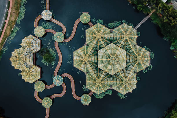 Bangkok, Thailand, Top View of Pavilion of the Enlightened at Ancient Siam Top-down aerial view of the Pavilion of the Enlightened at Ancient Siam (formerly known as Ancient City) in Bangkok, Thailand. pavilion stock pictures, royalty-free photos & images
