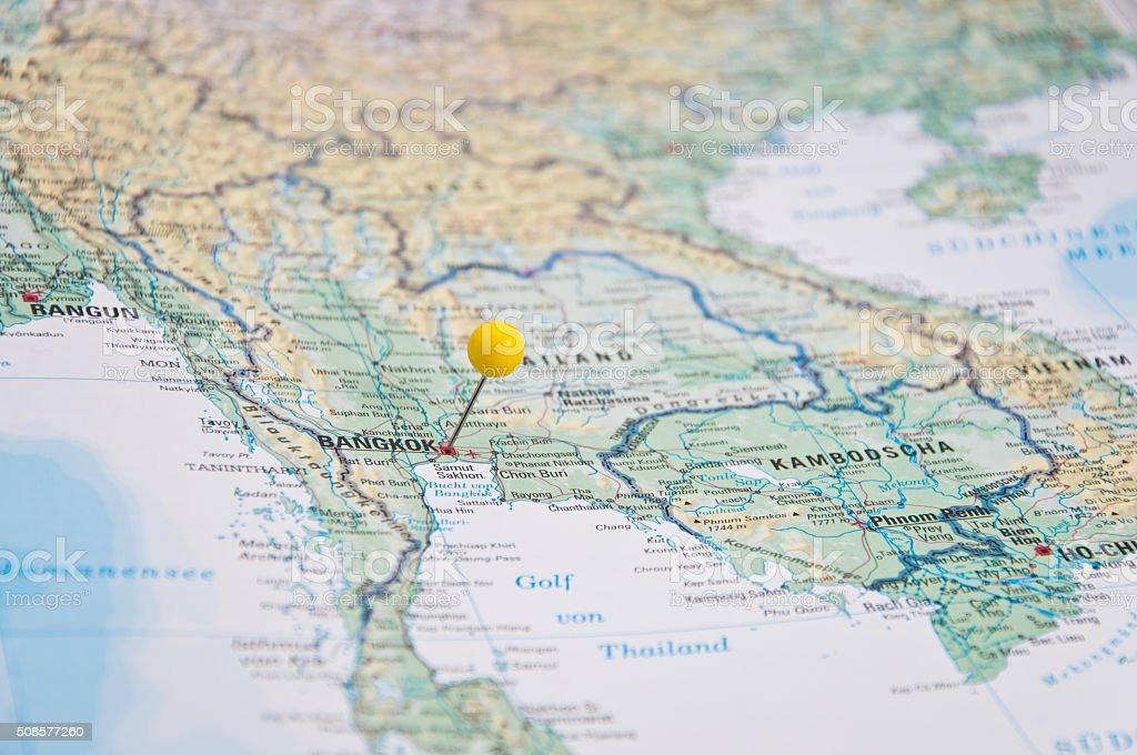 Bangkok Thailand Yellow Pin Closeup Of Map Stock Photo & More ...