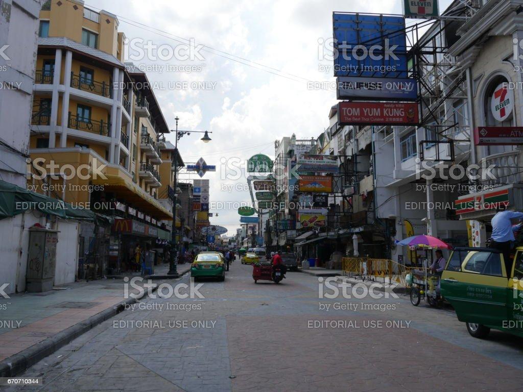 Bangkok, Thailand-April 15, 2017:Songkran water festival at Khaosan road stock photo