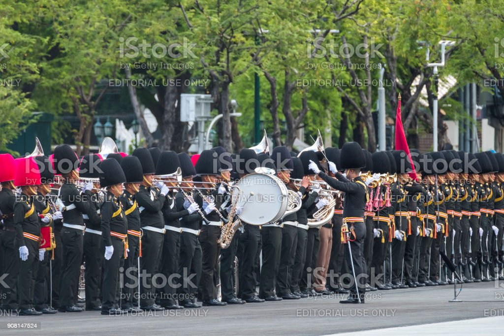 Bangkok, Thailand-October 21, 2017: The rehearsal of the procession of the royal cremation ceremony of the late king Bhumibol Adulyadej, conducted at Sanam Luang, Bangkok, Thailand, on 21 October, 2017. stock photo