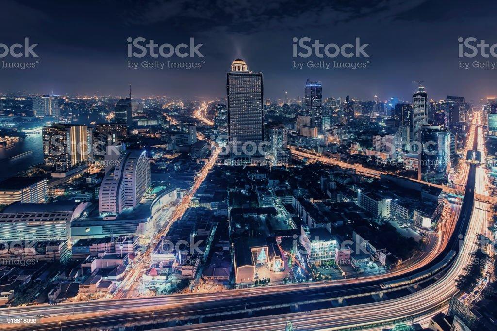 Bangkok twilight panorama stock photo