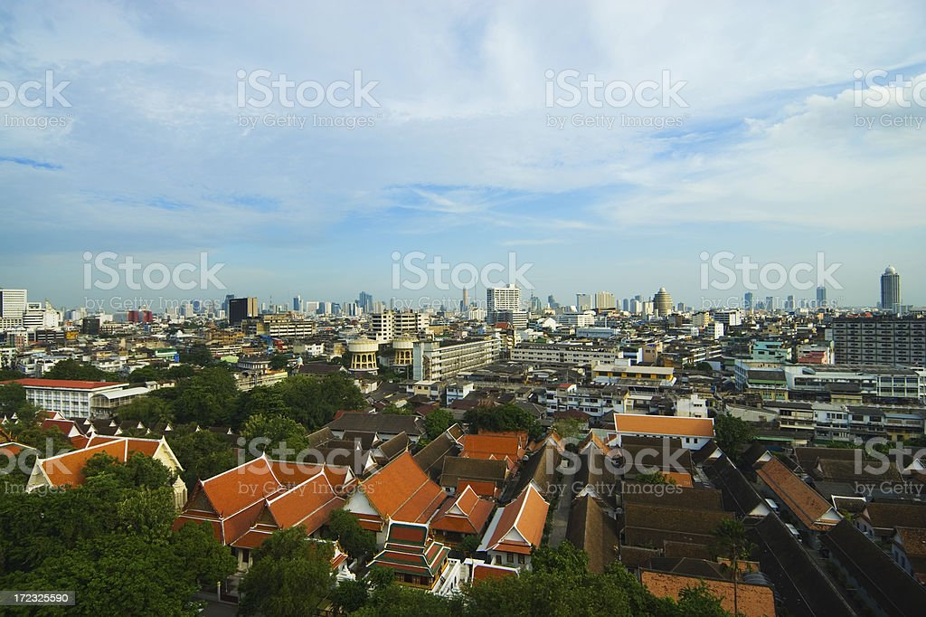 Bangkok View with Temple Roofs 2 royalty-free stock photo