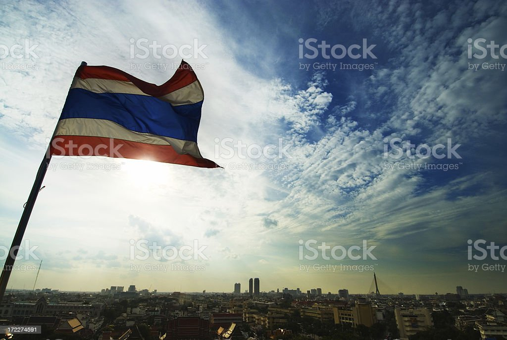 Bangkok with Flag royalty-free stock photo
