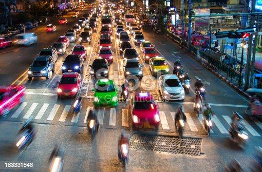 istock Bangkok with traffic at night. 163331846