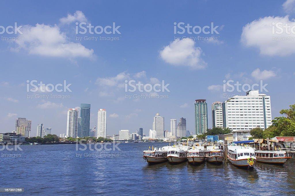 Bangkok,Chao Phraya River cityscape with urban city skyline royalty-free stock photo