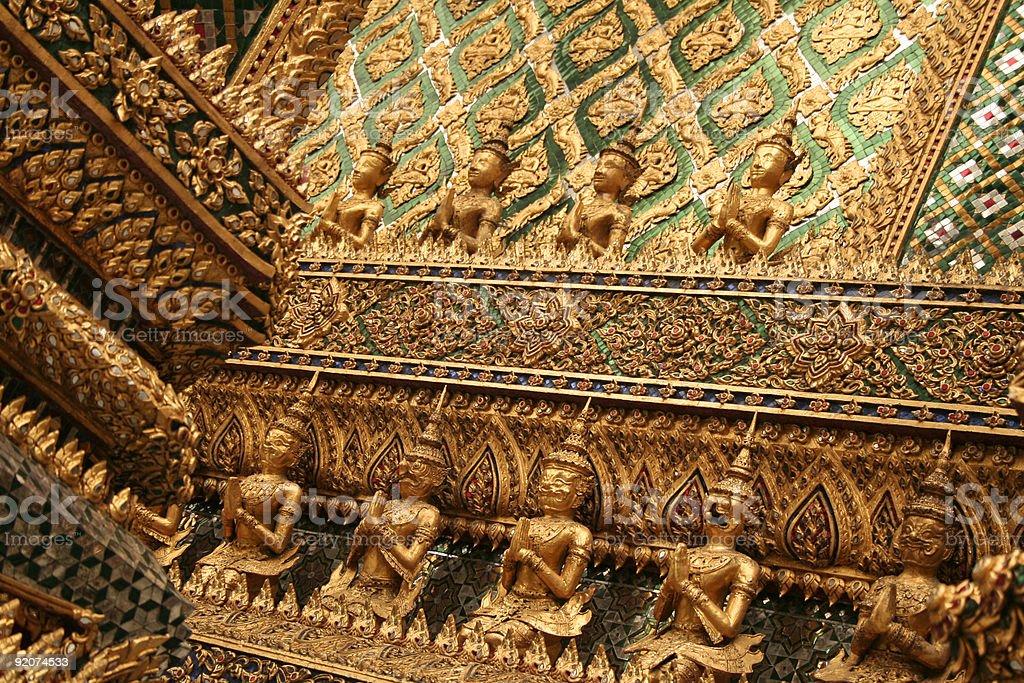 bangkoks grand palace ornate wall art royalty-free stock photo