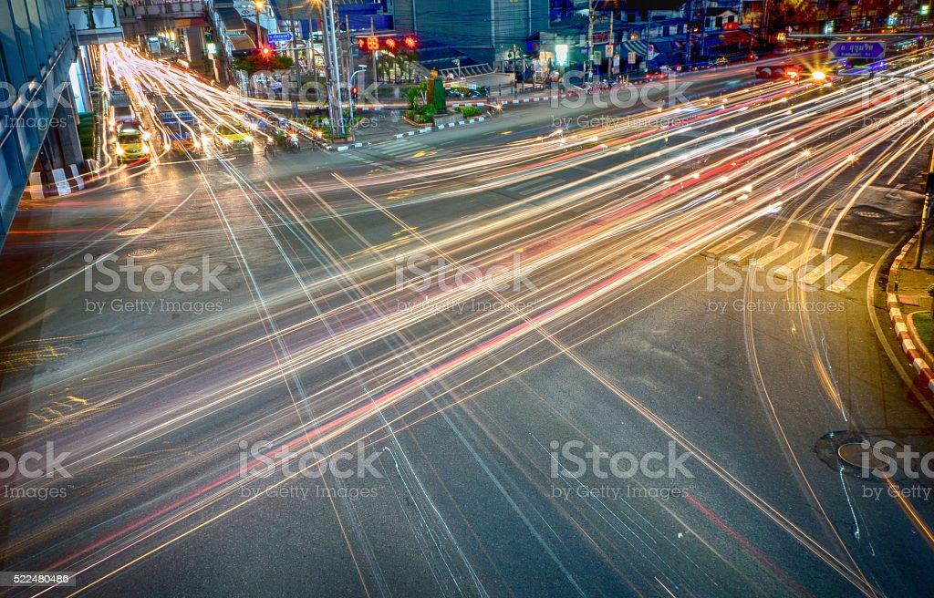 Bangkok's Light Trail stock photo