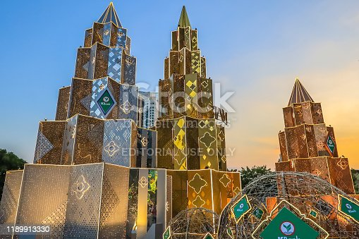 istock Bangkok,Thailand on November 23,2019:Large Christmas trees to celebrate Christmas and New Year Festival at River Park of ICONSIAM,the new shopping complex on the riverbank of Chao Phraya River. 1189913330