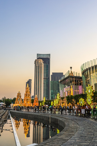 istock Bangkok,Thailand on November 23,2019:Large Christmas trees to celebrate Christmas and New Year Festival at River Park of ICONSIAM,the new shopping complex on the riverbank of Chao Phraya River. 1189913360
