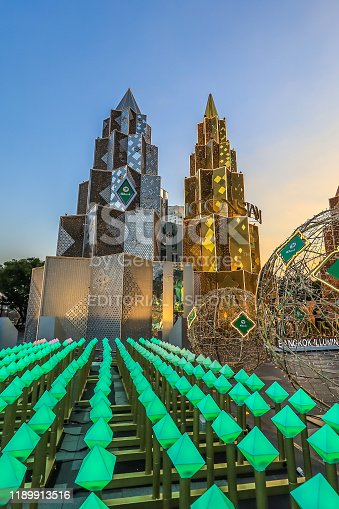 istock Bangkok,Thailand on November 23,2019:Large Christmas trees to celebrate Christmas and New Year Festival at River Park of ICONSIAM,the new shopping complex on the riverbank of Chao Phraya River. 1189913516