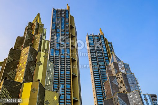 istock Bangkok,Thailand on November 23,2019:Large Christmas trees to celebrate Christmas and New Year Festival at River Park of ICONSIAM,the new shopping complex on the riverbank of Chao Phraya River. 1189914102