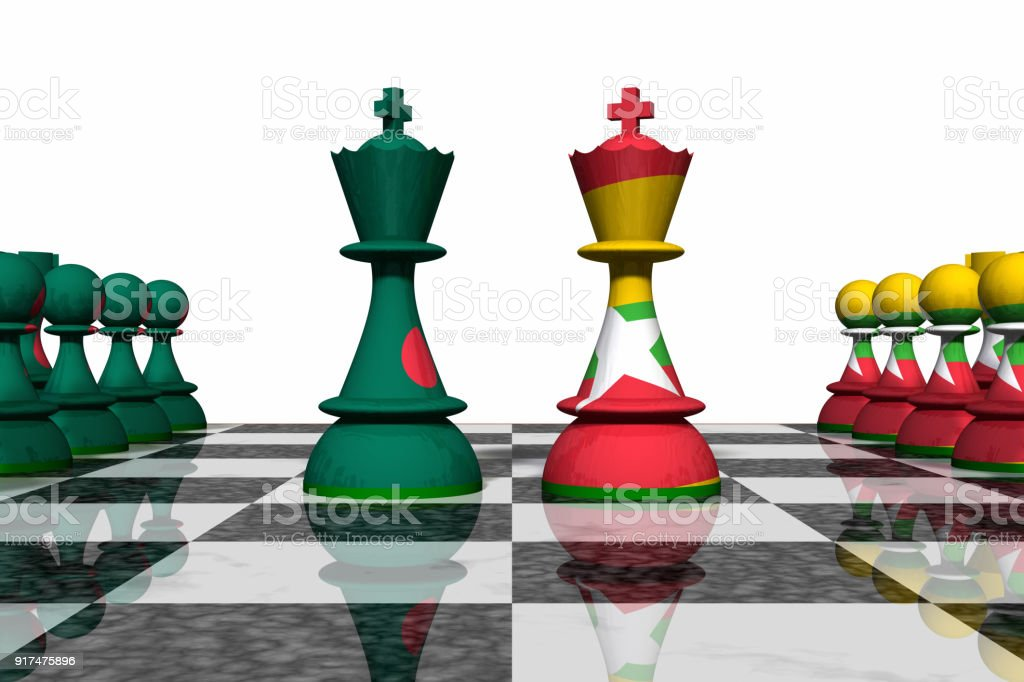 Bangladesh and Myanmar Chess Standoff stock photo